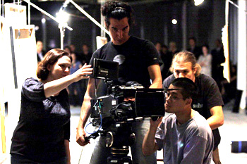 Pictured: Director Elizabeth Lucas,DP Raoul Germain, Chapin Hall (back), Kristopher Lee (front). Photo credit: Ryan Mueller.