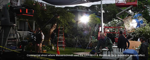 Commercial shoot where Messerschmidt used the ARRIMAX and MaxMover for a repeatable sunset effect.