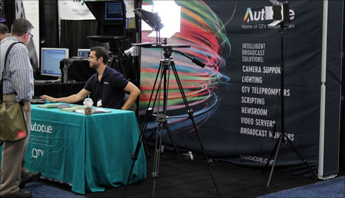 Autocue and QTV's exhibit booth # 404