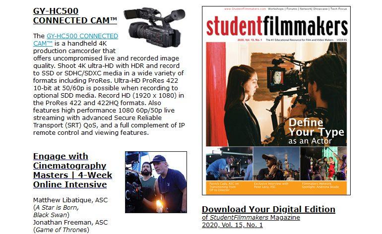 StudentFilmmakers eNewsletter: Spring Digital Issue