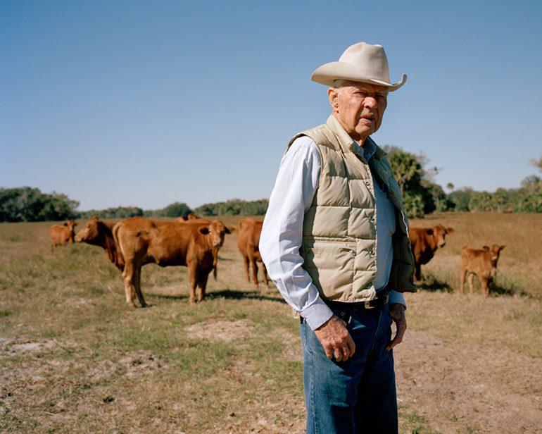 Photo by Michelle Bogre. Bud Adams, 4th-generation cattle rancher, Ft. Pierce, FL.