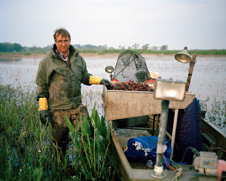 Photo by Michelle Bogre. Edwin Miller, 3rd generation rice and crawfish farmer, Gueydan, LA.