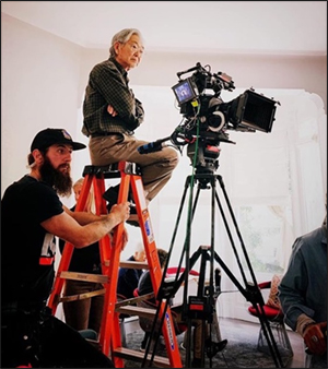 """Hiro Narita, ASC behind the camera. Photo by Paciano Triunfo, 2019, on the set of """"Late Lunch,""""directed by Eleanor Coppola."""