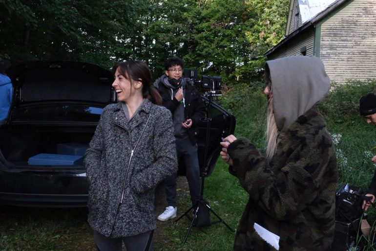 Sara Sue Vallee on the set of an independent film
