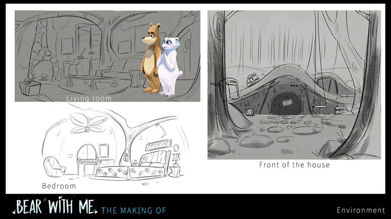 """Drawings, Environment, Animation Short Film, """"Bear With Me"""""""