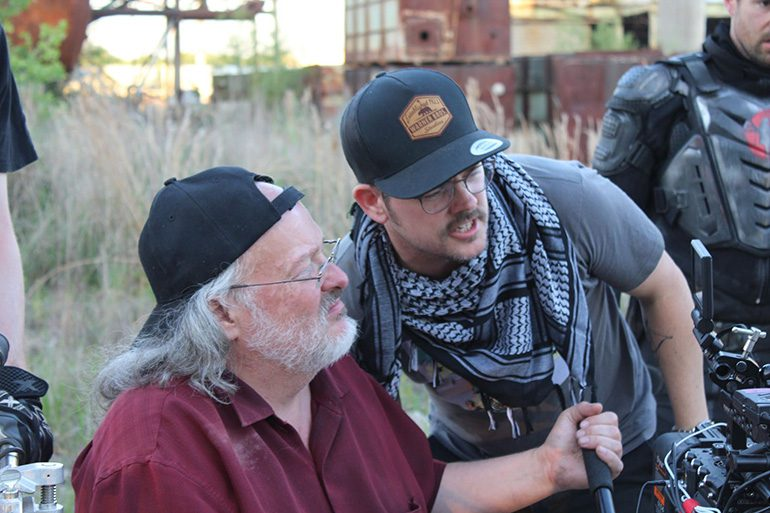 "Brad Rushing, csc with director Shaun Piccinino on the set of ""Salvage Marines."""