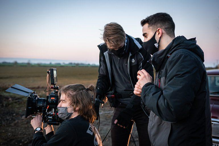 Harris Tomlinson-Spence and film crew