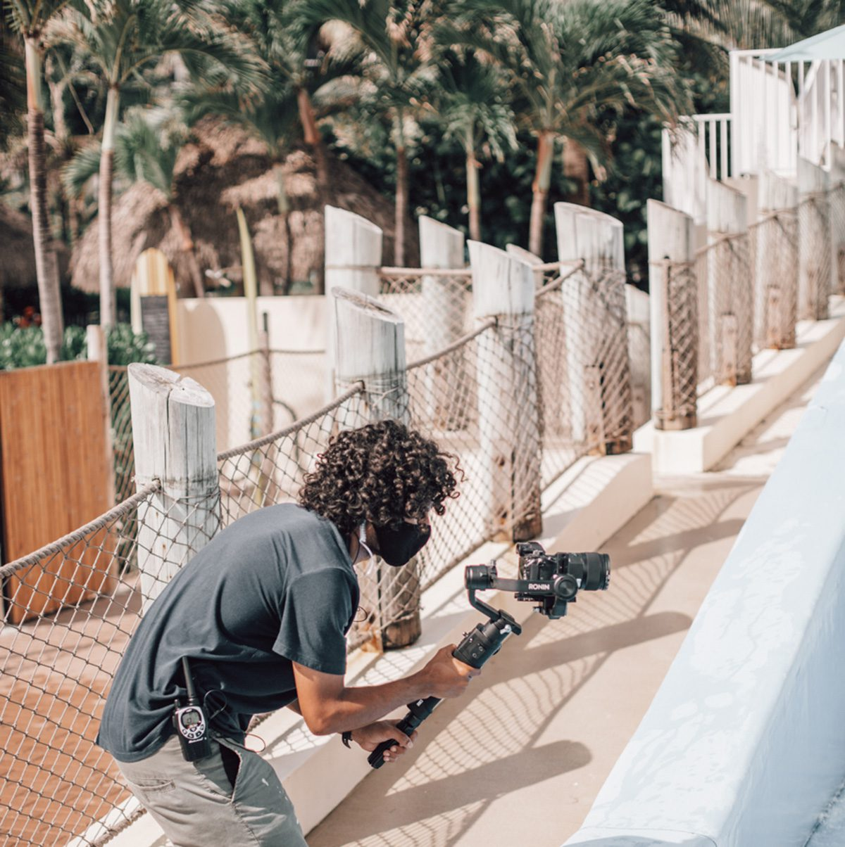 Karim Dakkon shooting handheld. Filming on set.