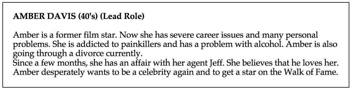 Character description for Amber Davis