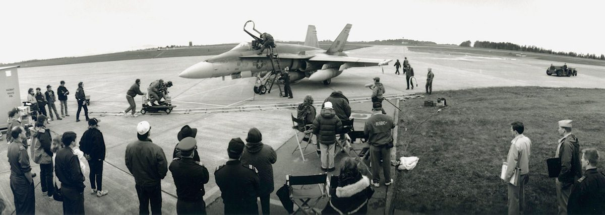 """""""She Stood Alone: The Tailhook Scandal"""", TV film, Directed by Larry Shaw ABC. F-16 fighter jet with crew at work."""