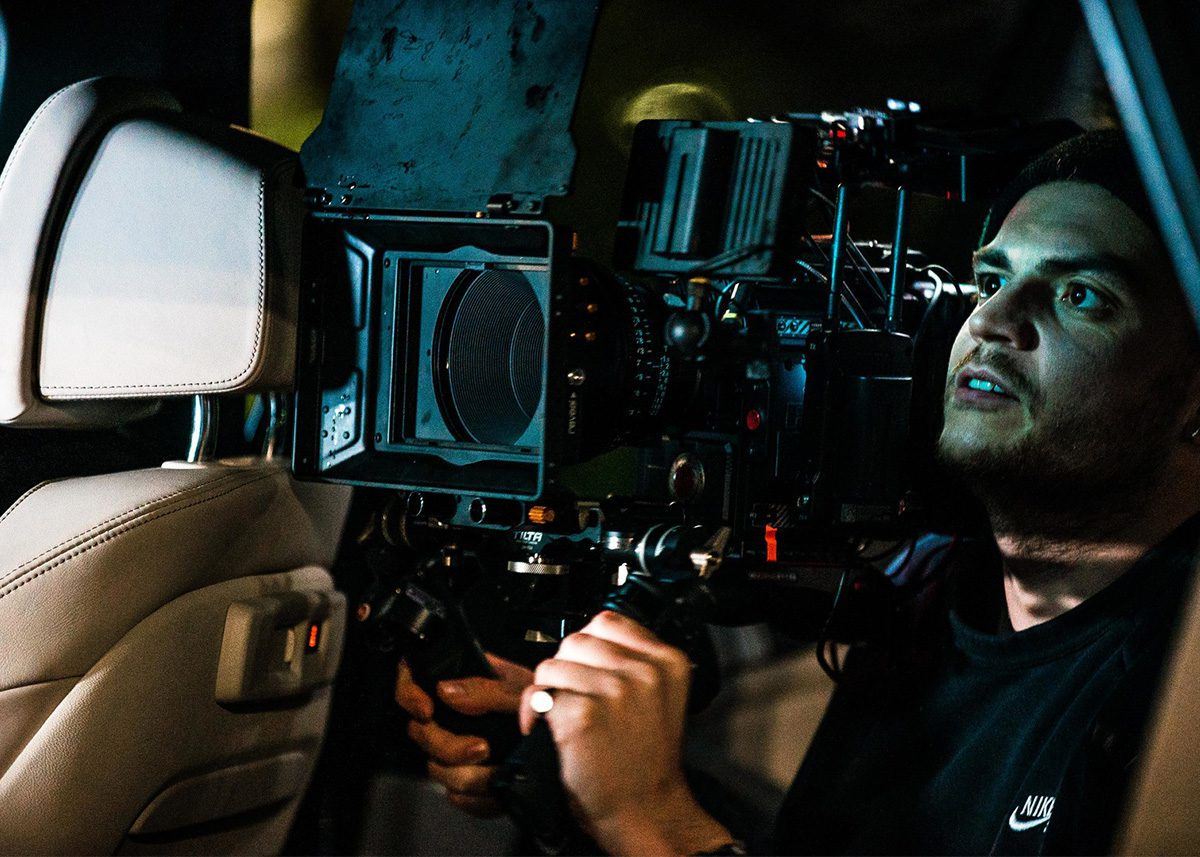 DP filming in a car. Making of: The ARK, directed by Benjamin South